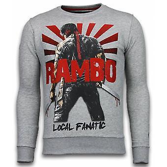 Rambo-Rhinestone sweatshirt-light grey