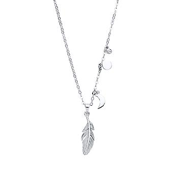 Jewelco London Ladies Rhodium Plated Silver White Round cubic zirconia Angel Wing Feather Charm Necklace 16 + 2 inch