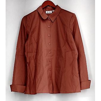Denim & Co. Top Ranskan ranneke nappi edessä paita vaaleanpunainen A284595
