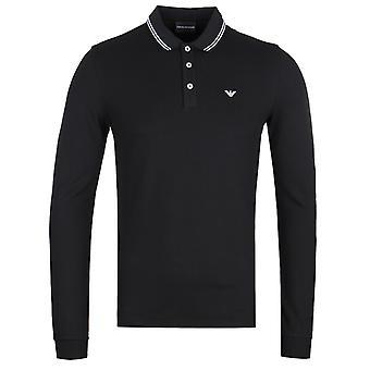 Emporio Armani lange mouw zwart getipt Polo shirt