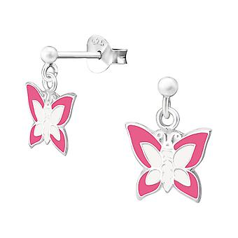 Butterfly - 925 Sterling Silver Colourful Ear Studs - W4746x