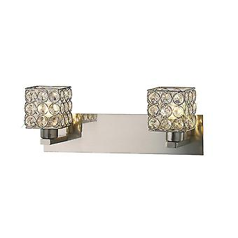 Diyas Elsa Wall Lamp 2 Light Satin Nickel/Crystal