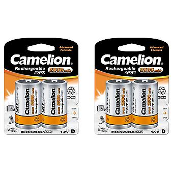 4x Camelion rechargeable D Batteries NiMH HR20 LR20 2500mAh battery