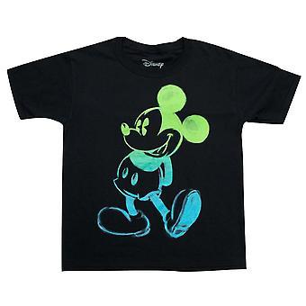 Mickey-Mouse Glühen In der dunklen Jugend jungen schwarzen T-Shirt