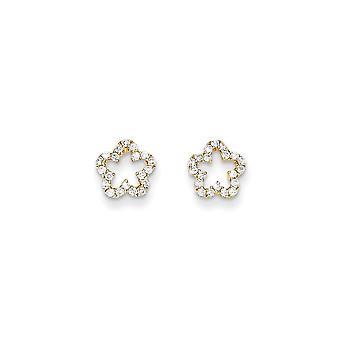 14k Geel goud gepolijst CZ Cubic Zirconia Gesimuleerde Diamond Flower Post Oorbellen Sieraden Geschenken voor vrouwen
