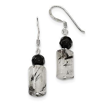925 Sterling Silver Shepherd koukku musta kristalli ja Rutilted kvartsi korva korut