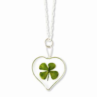 925 Sterling Silver Gift Boxed Spring Ring Silver tone Trim Four Leaf Clover Heart Hanger met verzilverde ketting hals