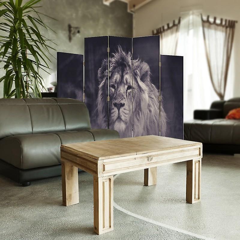 Diviseur de pièce décorative, 5 panneaux, double-sided, toile rotative de 360 , vieux lion