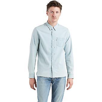 Levi's Sonnenuntergang eine Tasche Langarm Shirt Super weiß Licht blau 68