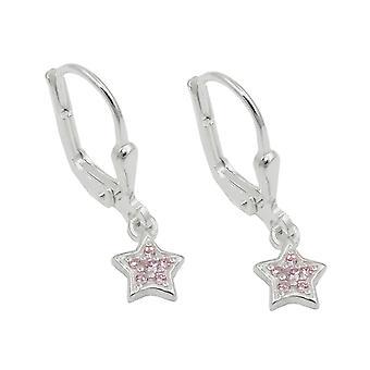 Brisur, Stern mit Zirkonias pink, Silber 925