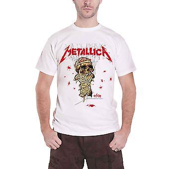 Metallica T camisa um Landmine cópia me banda com vida logotipo oficial Mens White