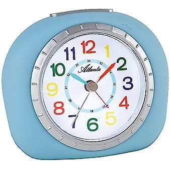 Atlanta 1966/5 alarm clock for children children alarm clock light blue blue quietly without ticking
