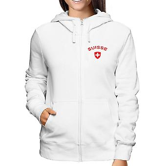 Felpa zip donna bianca dec0451 switzerland suisse