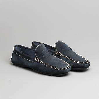 Catesby Shoemakers Joseph Mens Suede Casual Driving Loafers Navy