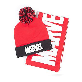 Marvel Comics Logo Bobble Beanie & Scarf Gift Set Winter Unisex One Size