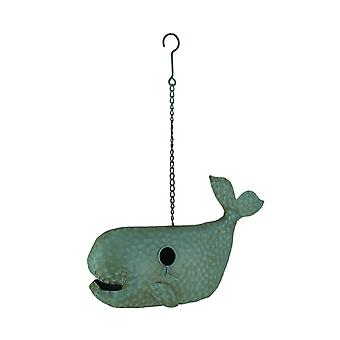 Blue Metal Art Dimpled Whale Shaped Outdoor Hanging Birdhouse Sculpture 17 inch