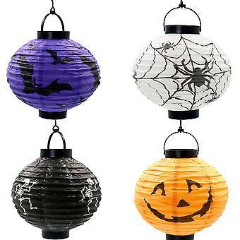 TRIXES pop-up Halloween papel LED linternas 4 Pack murciélagos arañas esqueletos calabazas