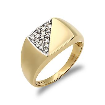 Jewelco London Men's Solid 9ct Yellow Gold White Round Brilliant Cubic Cyrkon i Pave Square Poduszka Signet Ring