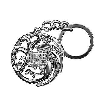 Game of Thrones Schlüsselan- hänger Targaryen Wappen silberfarben, aus Metall.