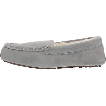 Amazon Essentials Women's Leather Moccasin Slipper, Light Grey, 11 M US