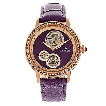 Empress Tatiana Automatic Semi-Skeleton Leather-Band Watch - Purple