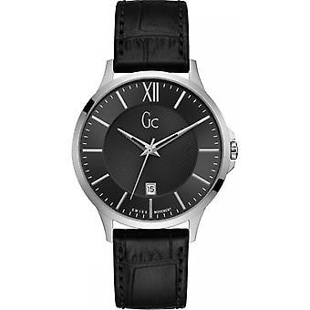 Watch GC Y38001G2 - steel gray Bracelet black dial black man leather case Executive