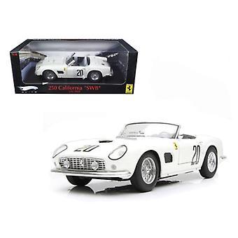 Ferrari 250 California SWB Lemans 1969 White #20 Elite Edition 1/18 Diecast Car Model par Hotwheels