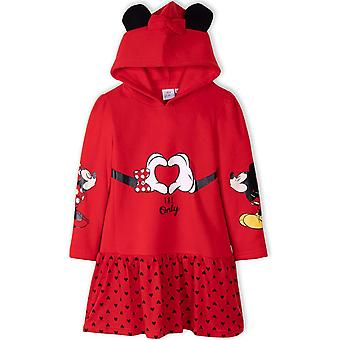 Girls HS1221 Disney Minnie Mouse Long Sleeve Hooded Dress