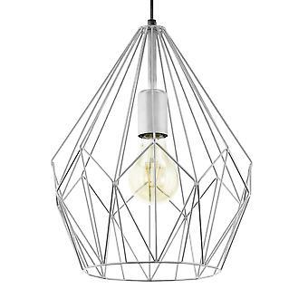 Luminaire suspendu de Eglo Carlton argenté fil ouvert Cage