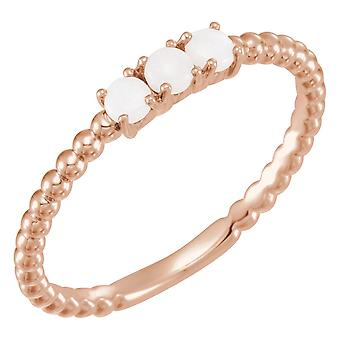 14k Rose Gold Polished Opal Beaded Stackable Ring Size 6.5 Jewelry Gifts for Women