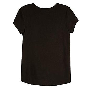 Amy Byer Girls' Short Sleeve Tie Front Top with Necklace,, Negru, Size Large