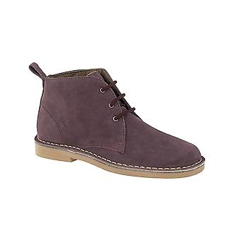 Roamers Plum Real Suede Ladies Desert Boot Lightweight Textile Lining Pvc Micro Sole