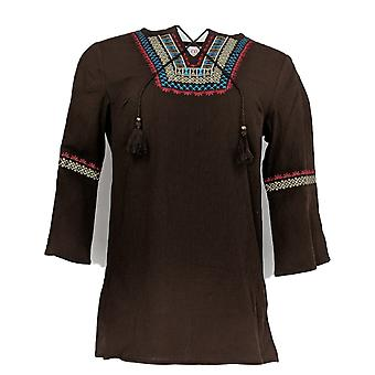 Denim & Co. Women's Top XXS Crinkle Gauze Embroidered Brown A309426