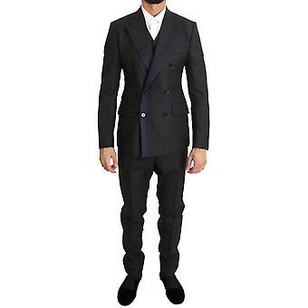 Dolce & Gabbana grau Wolle blau Seide Doppel Brust Anzug
