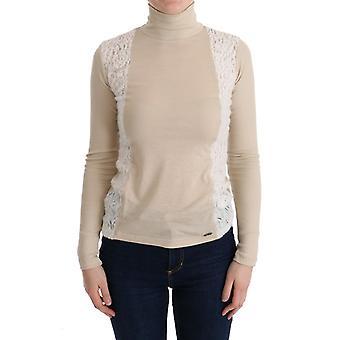 Costume National Beige Turtleneck Viscose Top Sweater