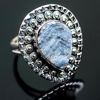 الصحراء Druzy خاتم حجم 7.25 (925 الجنيه الاسترليني الفضة) -- اليدوية بوهو خمر مجوهرات RING995938