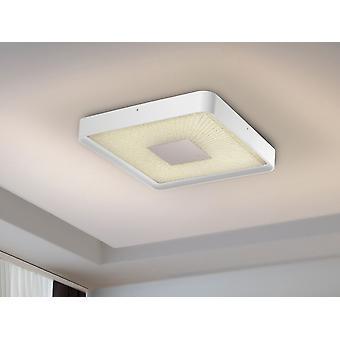 Schuller Sunny - Lampe de plafond carré de lumière LED. Intensité lumineuse et température des couleurs réglables. Télécommande incluse. Fabriqué en métal blanc poncé, diffuseur acrylique clair, texturé à l'intérieur et plaque chromée.40W LED, 2800 lm, 3000-6000 K. - 590681