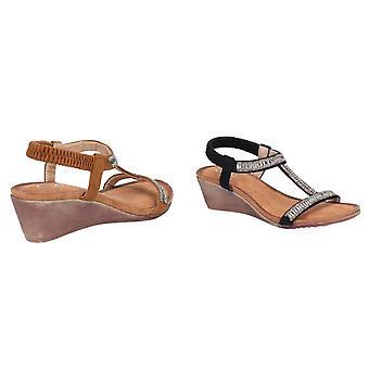 Divaz Womens/Ladies Pearl Elasticated Wedge Suede Sandal