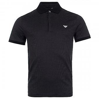 Emporio Armani Black Short Sleeve Jersey Dot Polo T-Shirt 3H1F64 1JERZ