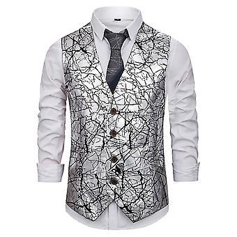 Allthemen Men-apos;s Printed Waistcoat 1 Gilet de costume boutonné pour l'hôte de la performance de partie