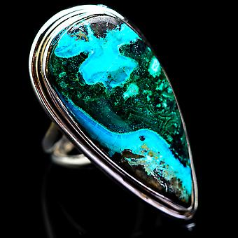 Large Malachite In Chrysocolla Ring Size 6.5 (925 Sterling Silver)  - Handmade Boho Vintage Jewelry RING1783