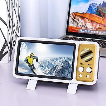 الرجعية تصميم التلفزيون 3D شاشة الهاتف مكبر مصغرة بلوتوث مكبر الهاتف الخليوي حامل الهاتف