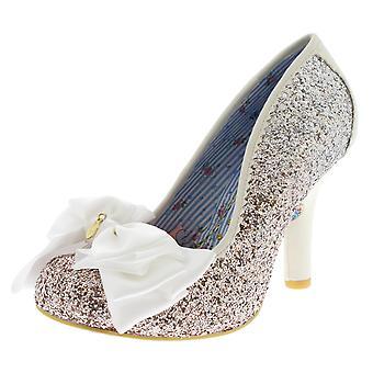 Womens Irregular Choice Ascot Glitter Evening High Heel Bow Court Shoes