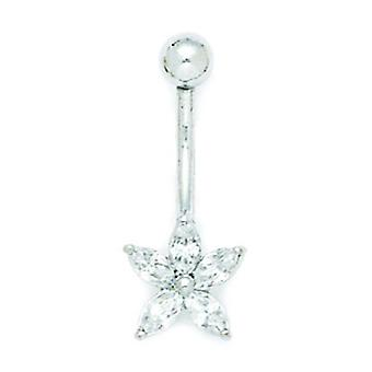 14k White Gold CZ Cubic Zirconia Simulated Diamond 14 Gauge Dangling Star Body Jewelry Belly Ring Measures 26x10mm Jewel