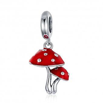 Sterling Silver Pendant Charm Red Mushroom - 5966