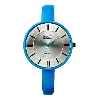 Eton Fashion Watch, Rubber Touch Plated Aqua Case & Leather Strap 3168J-AQ