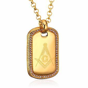 Bold golden zirconia tag freemason necklace