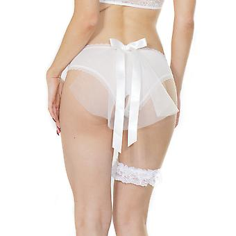 Bridal Mesh Crotchless Panty With Tulle Veil White OS