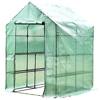 Outsunny Walk in Garden Greenhouse with Shelves Polytunnel Steeple Green house Grow House Removable Cover 143x143x195cm
