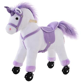 HOMCOM Plush Walking Horse Four Wheel Sit-On Unicorn Neigh Button Ride On Toy Rocker with Handlebar for Age 3+